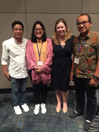 Mrs Karina Astari (second from left) and Fahrul Amin Iskandar (right) had an interactive discussion with speakers Patient Advocacy Capability Training, Ms Rikki Jones,  Managing Director GCI Health Asia Pasific (second from right) and her associate.