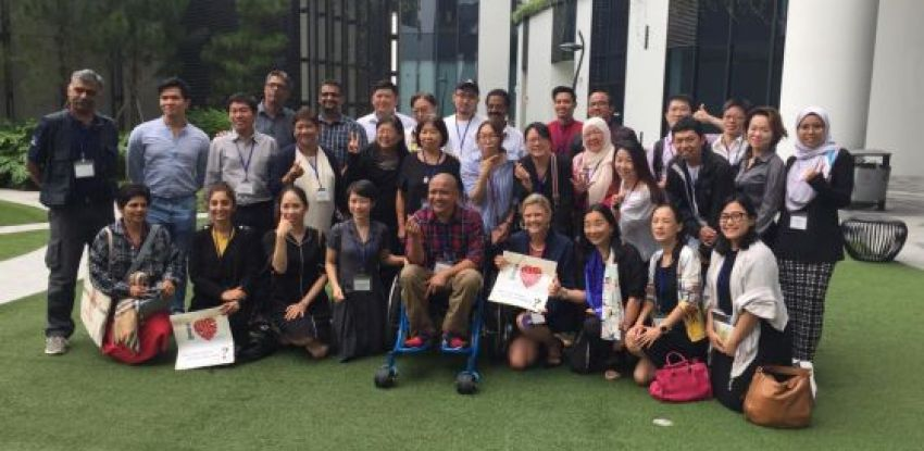 All delegates gather for a picture during Patient Advocacy Capability Training in Singapore